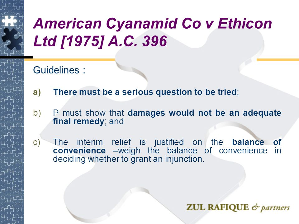 American Cyanamid Co v Ethicon Ltd [1975] A.C. 396